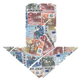 Grunge down euros arrow Royalty Free Stock Image