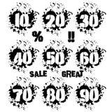 Grunge dozen of numerals in splashes icon set Stock Photography