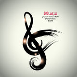 Grunge drawing black clef with brushwork and bird shape Royalty Free Stock Images