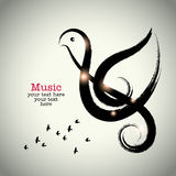 Grunge drawing black clef with brushwork and bird shape Stock Photography
