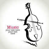 Grunge drawing cello with brushwork Stock Photo