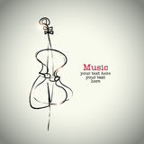Grunge drawing cello with ink.  Stock Photos