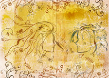 Grunge drawing of couple royalty free stock photo