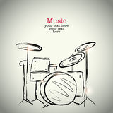 Grunge drawing drums with ink Royalty Free Stock Image