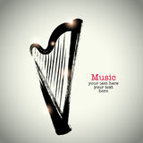 Grunge drawing harp with brushwork.  Royalty Free Stock Photo