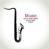 Grunge drawing saxophone with brushwork.  Royalty Free Stock Image