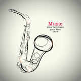 Grunge drawing saxophone with ink Royalty Free Stock Photography