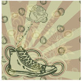 Grunge drawing with sneaker Royalty Free Stock Photography