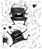 Grunge dreadful horrible monster fun character hand drawn monochrome design Royalty Free Stock Photography