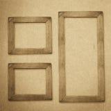 Grunge drewna ramy tło, rocznik papierowa tekstura Obraz Stock