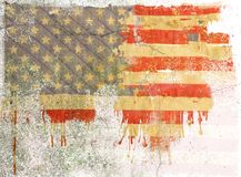 Grunge dripping american flag. On cracked wall Vector Illustration