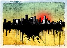 Grunge dripping city skyline Stock Images