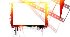 Grunge dripping colorful film strip frame. Design element with copy space Stock Images