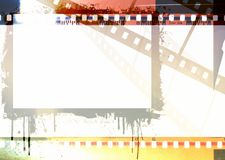 Grunge dripping colorful film strip frame. Vintage design element. Grunge dripping colorful film strip frame Stock Image