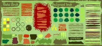 Grunge duży set punkty maluje, atramentu muśnięcia uderzenia ilustracji