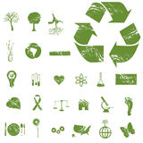 Grunge Eco Icons Stock Photo