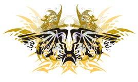 Grunge een hoogtepunt bereikte adelaarsvlinder met gouden gevleugelde draken Royalty-vrije Stock Fotografie