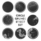 Grunge effect circle collections. Banners, Insignias , Logos, Icons, Labels and Badges Set .  distress textures.blank shapes. Black circle shape grunge Vector Royalty Free Stock Photo