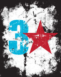 Grunge Effect Number Three Plus A Red Star