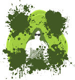Grunge effect with woman. Abstract grunge style illustration of woman with with splatter shapes Stock Photography