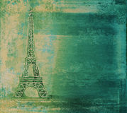 Grunge eiffel card Stock Photo