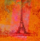Grunge Eiffel Karte Stockbild