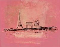 Grunge Eiffel Karte lizenzfreie abbildung