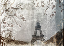 Grunge Eiffel Tower. Eiffel Tower from Champs-de-Mars, Paris, France on grunge background with swirls and scrolls Stock Image