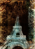Grunge Eiffel Tower. Eiffel Tower from Paris, France on grunge background with swirls and scrolls Stock Images