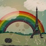 Grunge Eiffel tower and rainbow Royalty Free Stock Image