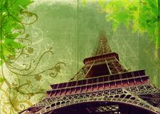 Grunge Eiffel Tower in sepia. Eiffel Tower in high contrast sepia - France, Paris, on grunge background with swirls and scrolls Stock Photo
