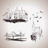 Grunge elegance ink splash elements of city. This is file of EPS8 format Stock Photo
