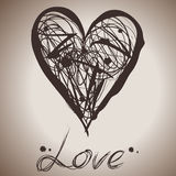 Grunge elegance ink splash illustration of heart Stock Photos