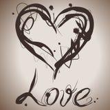 Grunge elegance ink splash illustration of heart Stock Images