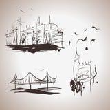 Grunge eleganci atramentu pluśnięcia elementy miasto ilustracja wektor