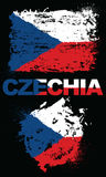 Grunge elements with flag of Czechia. Stock Photo