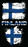 Grunge elements with flag of Finland. Royalty Free Stock Images