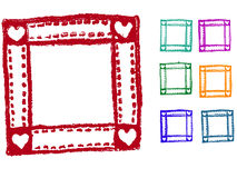 Grunge elements - Heart Border. 7 Heart Border Stamps-  Highly Detailed  grunge elements Royalty Free Stock Photo