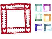 Grunge elements - Heart Border. 7 Heart Border Stamps- Highly Detailed grunge elements royalty free illustration