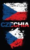 Grunge elementy z flaga Czechia ilustracji