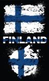 Grunge elementy z flaga Finlandia ilustracji