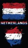 Grunge elementy z flaga holandie ilustracji