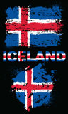 Grunge elementy z flaga Iceland royalty ilustracja