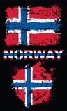 Grunge elementy z flaga Norwegia royalty ilustracja