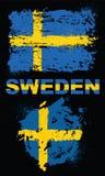 Grunge elementy z flaga Szwecja ilustracja wektor