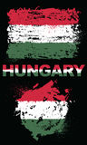 Grunge elementy z flaga Węgry royalty ilustracja