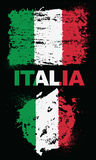 Grunge elementy z flaga Włochy ilustracji