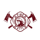 Grunge emblem of fire department. With fireman Royalty Free Stock Photography
