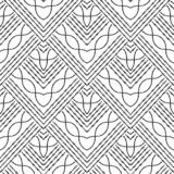 Grunge embroidery zigzag tribal vector seamless pattern. Geometric abstract striped background. Repeat black and white backdrop. Embroidered ornament in ethnic stock illustration
