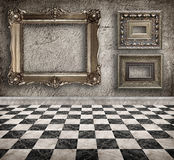 Grunge empty interior with frames. Stock Photo